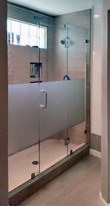 Inline shower door enclosure custom etched glass dallas