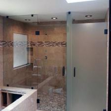 EF05 Custom Etched Glass Inline Shower Door Dallas