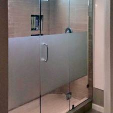 Frameless inline shower door etched glass dallas 01